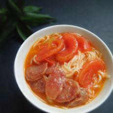 番茄腊肠煮面
