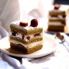 抹茶豆沙奶油蛋糕