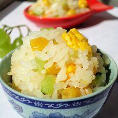 柴鸡蛋玉米粒炒饭