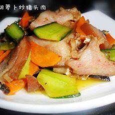 黄瓜胡萝卜炒猪头肉的做法