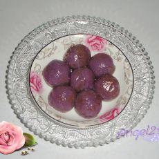 紫薯豆沙馅汤圆