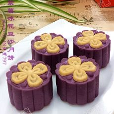 花色紫薯豆沙冰皮月饼的做法