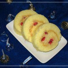 白巧杏桃酱草莓全蛋海绵蛋糕卷