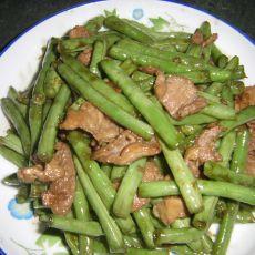 白豆角炒猪肉
