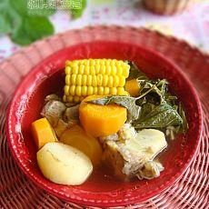 桑叶胡萝卜玉米猪骨汤的做法