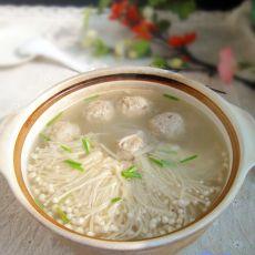 金针菇粉丝贡丸汤