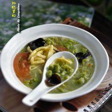 绿色面疙瘩汤
