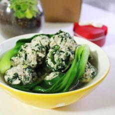 荠菜豆腐丸子汤的做法