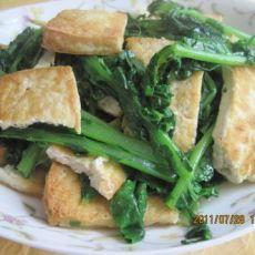油煎豆腐炒萝卜缨