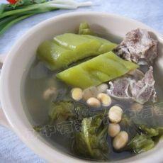 黄豆苦瓜咸菜叶汤