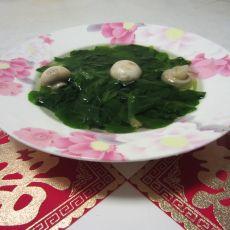 鸡毛菜蘑菇汤