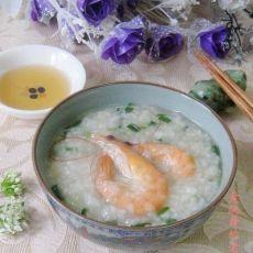 韭菜花鲜虾糯米粥