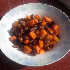 胡萝卜爆肉丁