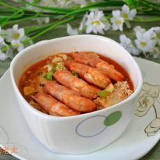 茄汁白对虾冻豆腐煲