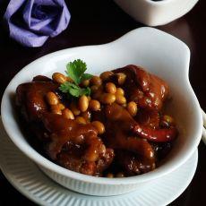 猪脚炖黄豆的做法