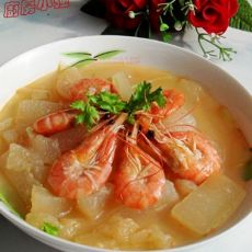 鲜虾焖冬瓜的做法