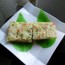 米饭胡萝卜鸡蛋饼的做法