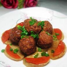 杏鲍菇烩丸子的做法