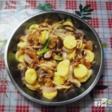 豆腐鲜菇烩鸡腿肉