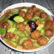 西葫芦烩肉丸