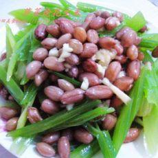 芹菜炝花生米的做法