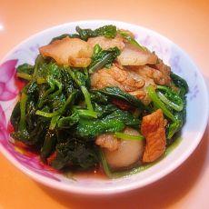 白菜苗炒肉片