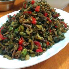 酸豆角煸虾米的做法