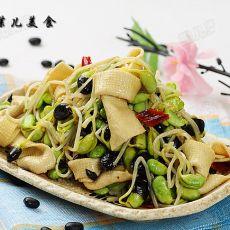 豆腐结炒黑豆芽的做法
