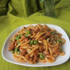 豌豆肉末茄汁煮乌冬面