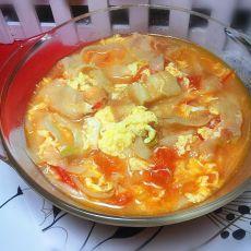 番茄鸡蛋烩饼汤的做法