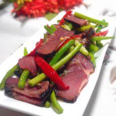 蒜苔炒湘西腊牛肉