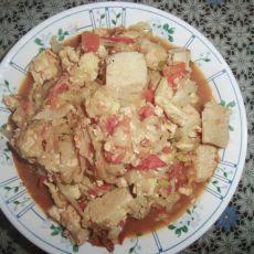 洋白菜炒豆腐的做法