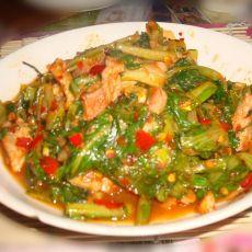 豆瓣酱炒小白菜