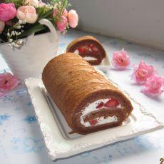 巧克力草莓奶油卷