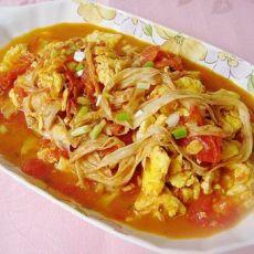 番茄豆腐皮炒鸡蛋的做法