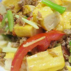 西红柿肉末焖豆腐