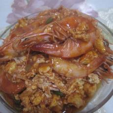 番茄味蛋炒虾
