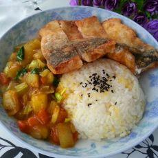 咖喱鱼排盖饭的做法
