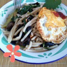 青菜木耳下米面的做法