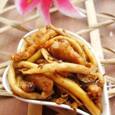 五花肉炒茶树菇