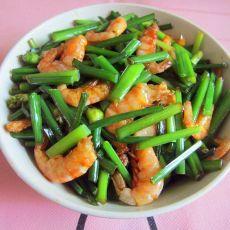 虾干炒韭菜花的做法