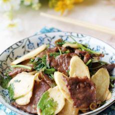 高笋炒大片牛肉的做法