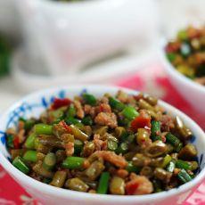 酸豆角蒜苗炒肉末的做法