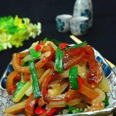 莴笋炒卤肉皮的做法