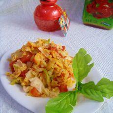 西红柿炒白甘蓝