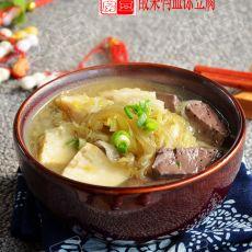 酸菜鸭血冻豆腐的做法