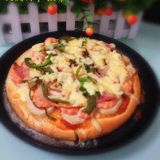 火腿虾仁披萨的做法