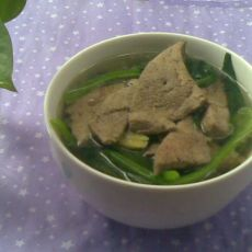 炒猪肝菠菜汤