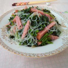 火腿粉丝拌菠菜的做法