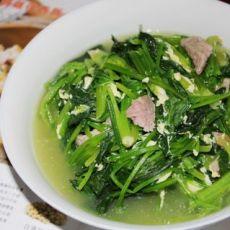 肉片蛋花菠菜汤的做法
